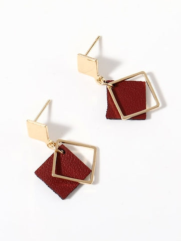 Double Square Drop Earrings For Ladies - Queen Bunnybee's Gifts