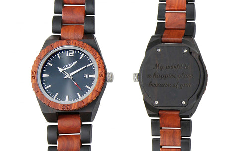 Men's Handmade Engraved Ebony & Rosewood Watch - Queen Bunnybee's Gifts