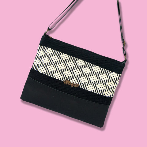 Cross-Body Bag in Black Leather with White Stripe. - Queen Bunnybee's Gifts
