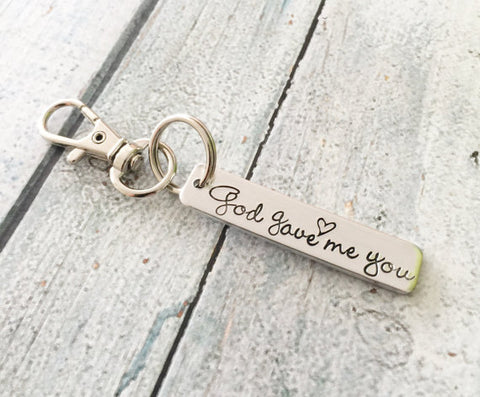 God gave me you - Personalized keychain -Zipper - Queen Bunnybee's Gifts