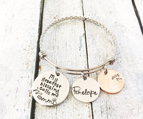My greatest blessings - Hand stamped bracelet - - Queen Bunnybee's Gifts