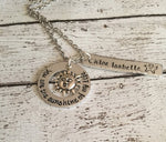 You are my sunshine - Hand stamped necklace - You - Queen Bunnybee's Gifts