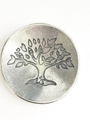 Trinket dish - Hand stamped ring dish - Pewter - Queen Bunnybee's Gifts