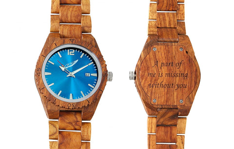 Men's Handmade Engraved Kosso Wood Watch - Queen Bunnybee's Gifts
