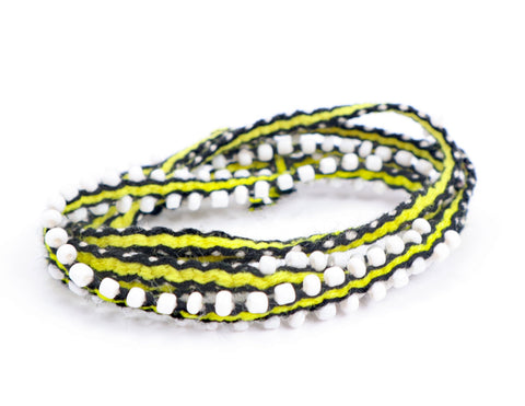 Black and Neon Yellow Striped, Wrap Bracelets - Queen Bunnybee's Gifts