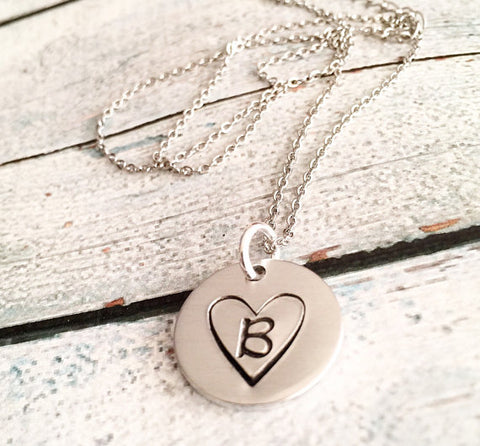 Initial necklace - Hand stamped jewelry - Queen Bunnybee's Gifts