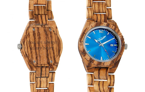 Men's Engraved Zebra Wood Watch - Queen Bunnybee's Gifts