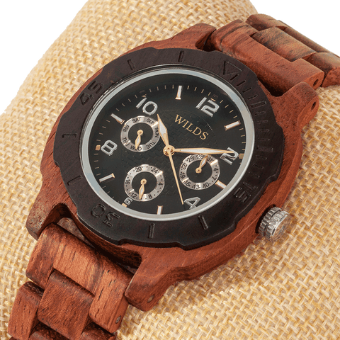 Men's Multi-Function Custom Kosso Wooden Watch - Queen Bunnybee's Gifts