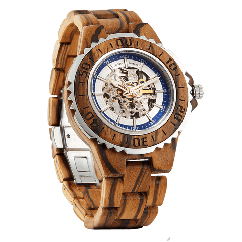 Men's Genuine Automatic Zebra Wooden Watches - Queen Bunnybee's Gifts