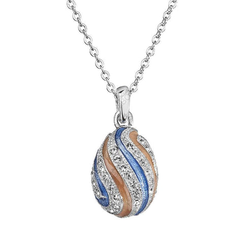 Necklace with Blue and Beige Stripes - Queen Bunnybee's Gifts