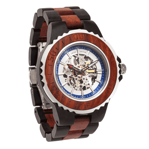 Men's Genuine Automatic Rose Ebony Wooden Watches - Queen Bunnybee's Gifts