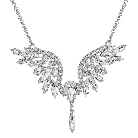 Rhodium Crystal Pendant - Wings - Queen Bunnybee's Gifts