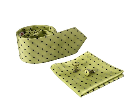 Classy Mens Polka Dot Silk Feel Necktie Cufflinks - Queen Bunnybee's Gifts