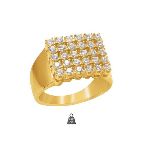 Gold Plated 925 Silver w Cubic Zirconia Men's Ring 928031 - Queen Bunnybee's Gifts