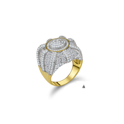 Gold Plated 925 Silver w Cubic Zirconia Men's Ring 928772 - Queen Bunnybee's Gifts