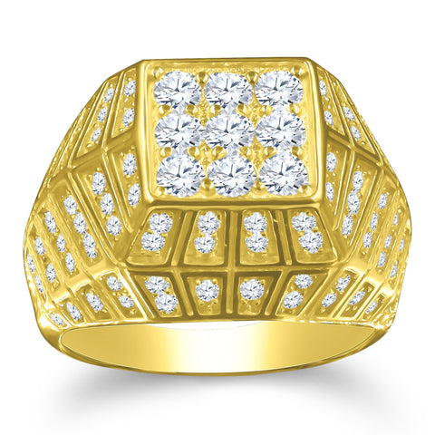 Gold Plated 925 Silver w Cubic Zirconia Men's Ring 929382 - Queen Bunnybee's Gifts