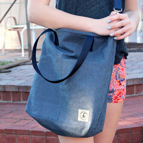 Aria Reversible Messenger: Denim Stitch - Queen Bunnybee's Gifts