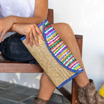 Clutch Bag with Sequin Stripes, Blue Trim - Queen Bunnybee's Gifts