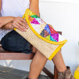 Straw Clutch Bag With Colorful Sequin. Embroidery - Queen Bunnybee's Gifts