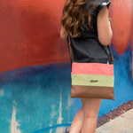 Cross-Body Bag in Brown Leather with Coral and - Queen Bunnybee's Gifts