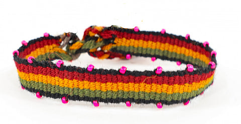 Hot Pink Beaded, Rasta Striped, Wristbands - Queen Bunnybee's Gifts