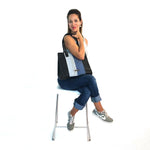 Black Leather Tote Bag with Blue Stripe - Queen Bunnybee's Gifts