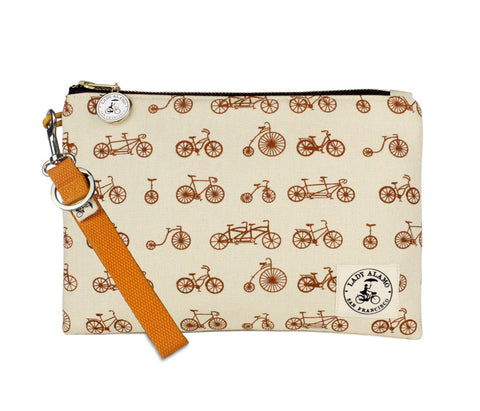 Miss Zip: Bike Galore Sepia With Orange Key Ring - Queen Bunnybee's Gifts