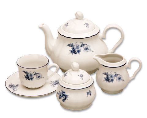 Rose Tea Set - blue - Queen Bunnybee's Gifts