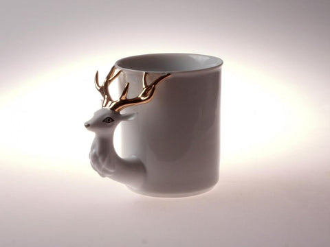 Retro Style Deer Porcelain Cup with Stripes l 12oz - Queen Bunnybee's Gifts