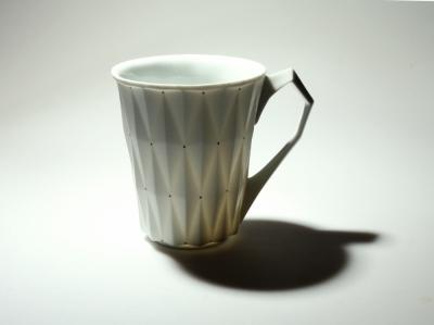 White Retro Style Porcelain Cup 'DIAMOND' l 12oz l - Queen Bunnybee's Gifts