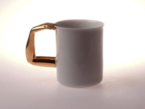 Retro Style Porcelain Cup 'GOLDEN HAND II. l 12oz - Queen Bunnybee's Gifts