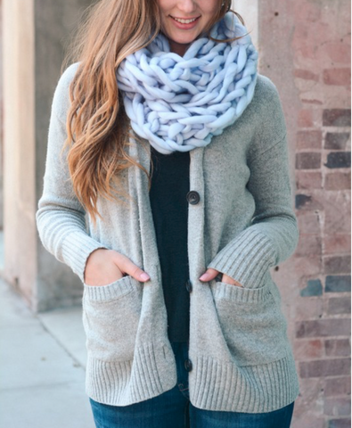 Ultra-Soft Light Blue Chunky Infinity Scarf - Queen Bunnybee's Gifts
