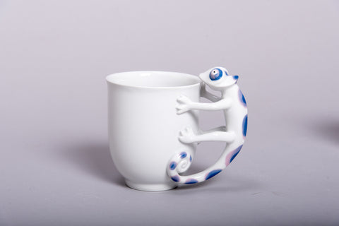Retro Style Porcelain Cup 'CHAMELEON' l 12oz l - Queen Bunnybee's Gifts