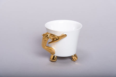 Retro Style Porcelain Cup 'GOLDEN HAND' l 12oz l - Queen Bunnybee's Gifts