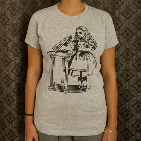 Alice Drink Me T-Shirt (Ladies) - Queen Bunnybee's Gifts
