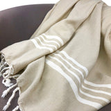 Sand Nautical Stripe Turkish Throw - Queen Bunnybee's Gifts