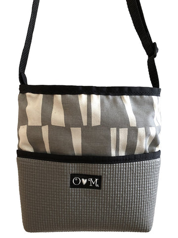 Bernie Gray Sticks Geometric Print Crossbody Purse - Queen Bunnybee's Gifts