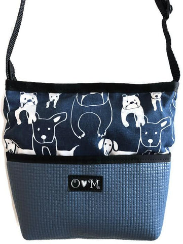 Bernie Blue Dog Print Crossbody Purse - Queen Bunnybee's Gifts