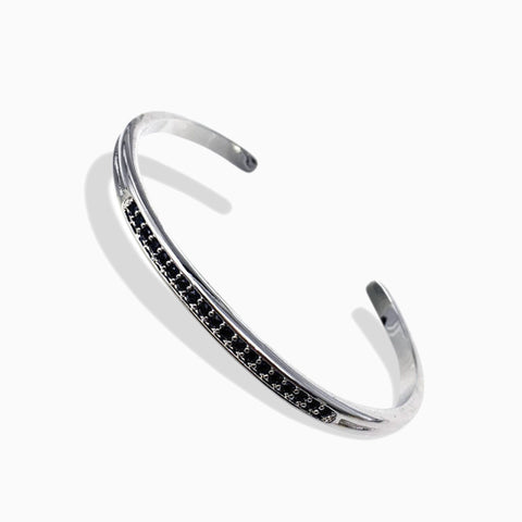 White Bangle with Natural Black Cubic Zirconia - Queen Bunnybee's Gifts