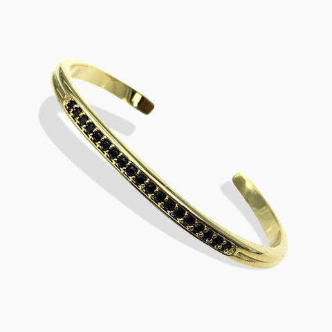 Yellow Gold Bangle / Cuff Bracelet with Black Cubic Zirconia - Queen Bunnybee's Gifts