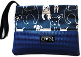 Slate Blue Clutch- Dog Fabric - Queen Bunnybee's Gifts