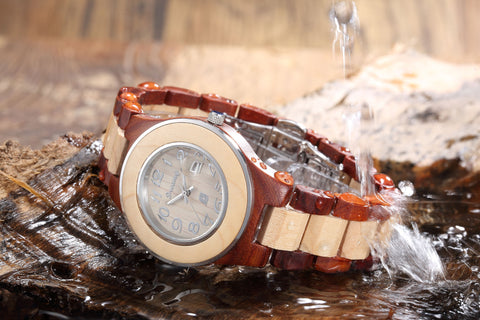 Women's Natural Maple & Rosewood  Wooden Watch - Queen Bunnybee's Gifts
