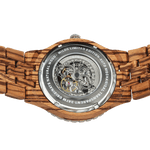 Men's Premium Self-Winding  Zebra Wood Watch - Queen Bunnybee's Gifts
