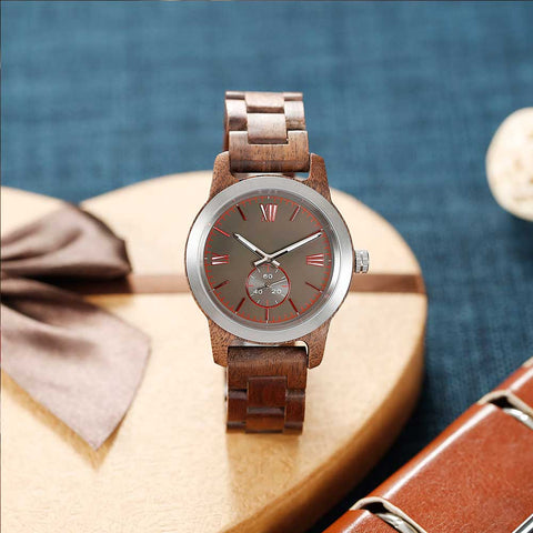 Men's Handcrafted Engraved Walnut Wood Watch - Queen Bunnybee's Gifts