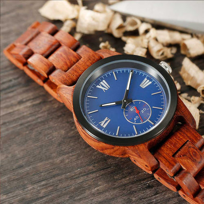 Men's Handcrafted Engraved Kosso Wood Watch - Queen Bunnybee's Gifts