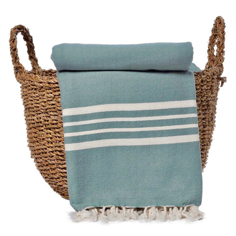Green Nautical Stripe Turkish Throw - Queen Bunnybee's Gifts