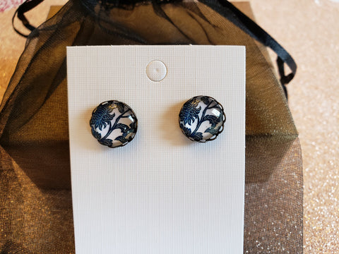 Blue & White Flower Earrings - in Gift Bag -Bronze - Queen Bunnybee's Gifts