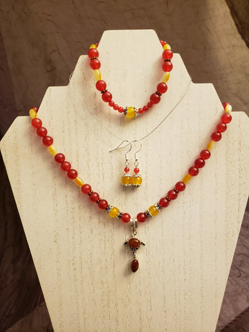 Carnelian Pendant, Yellow Topaz and Red Jade Gemstone Bead Necklace Set * Matching Earrings and Bracelet in Lotus Gift Box - Queen Bunnybee's Gifts
