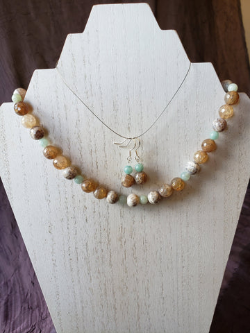 Faceted Crackle Fire Agate and Amazonite Necklace, Bracelet and Earring Set Sterling Silver Toggle Clasp and Ear Wires in Lotus Gift Box - Queen Bunnybee's Gifts