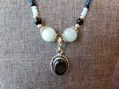 Silver & Black Onyx with Larimar Quartz, Obsidian and Faceted Kyanite - Toggle Clasp - Necklace - Queen Bunnybee's Gifts